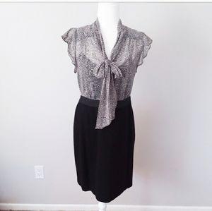 Ann Taylor Loft Black Dress with Animal Print Top